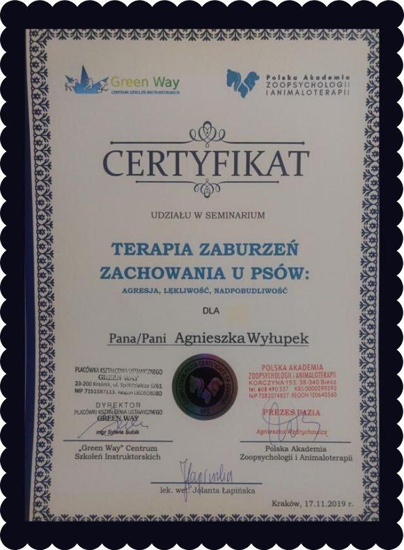 Certyfikat udziału w seminarium Terapia zaburzeń zachowania u psów przyznany Agnieszce Wyłupek