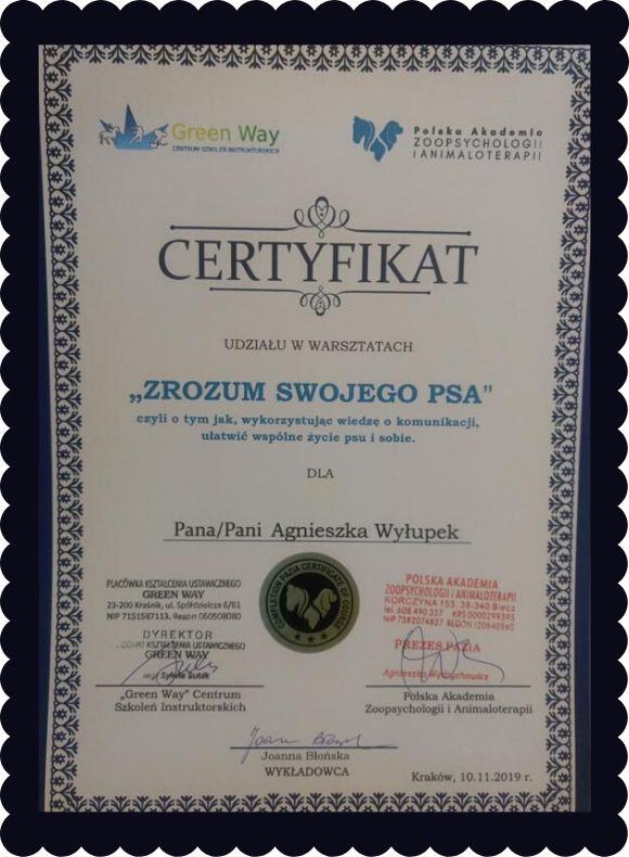 Certyfikat udziału w warsztatach Zrozum swojego psa przyznany Agnieszce Wyłupek
