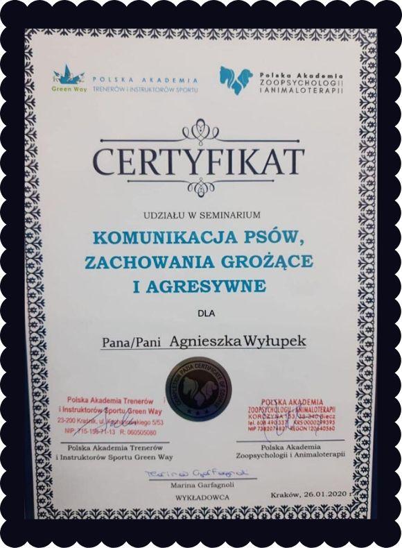 certyfikat szkolenia Agnieszki Wyłupek o komunikacji psów - zachowania grożące i agresywne